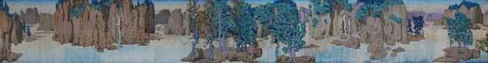 《中国花园》 布面油画 62cm x 472cm 2018年