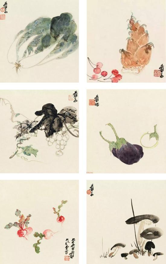 图3。张大千《蔬果图六帧》