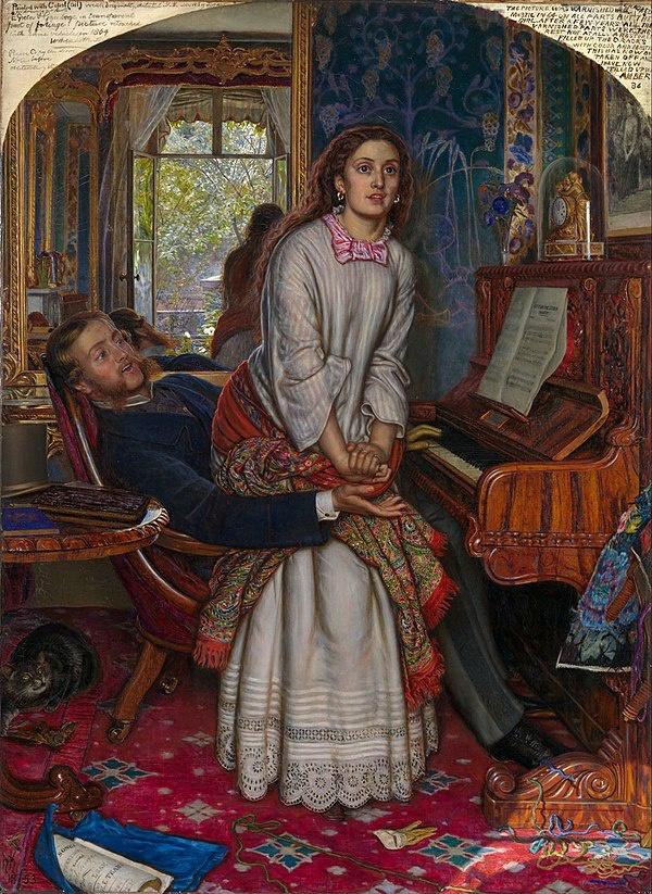 威廉·亨特《觉醒的良知》(The Awakening Conscience,1853),现藏于英国伦敦泰特美术馆
