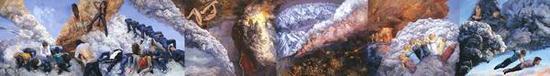 喻红,《云端》,2012 ,布面丙烯,250 x 1800 cm
