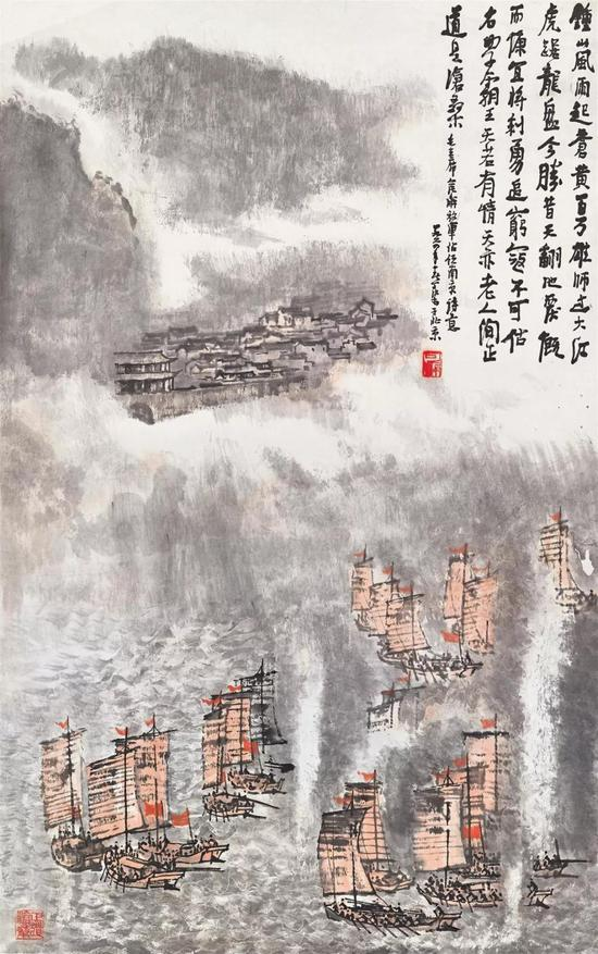 拍品编号1375李可染《百万雄师过大江》设色纸本 立轴镜框96.2 x 60.3 cm.