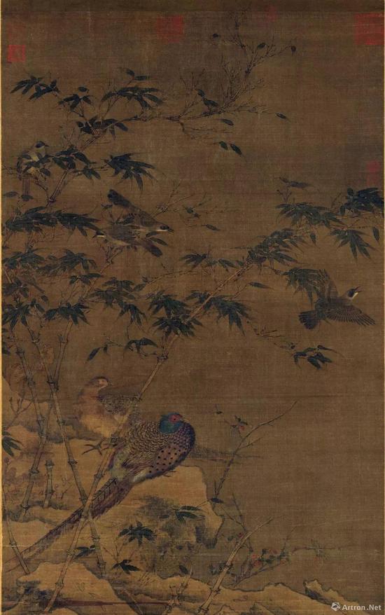 宋佚名《翠竹翎毛图》絹本设色轴185x109.9公分台北故宮博物院