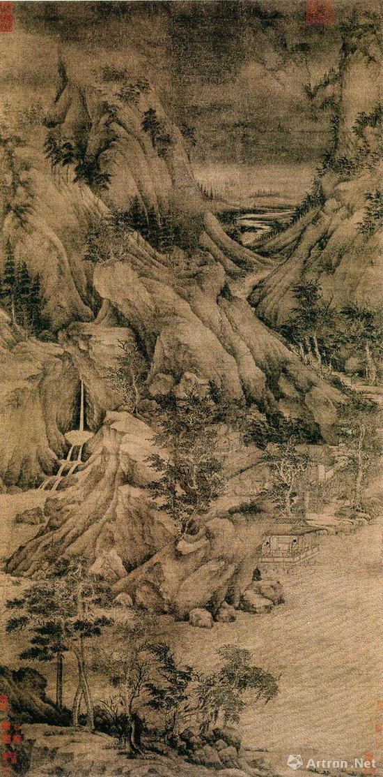 五代董源《溪岸图》 张大千旧藏 现藏美国纽约大都会博物馆