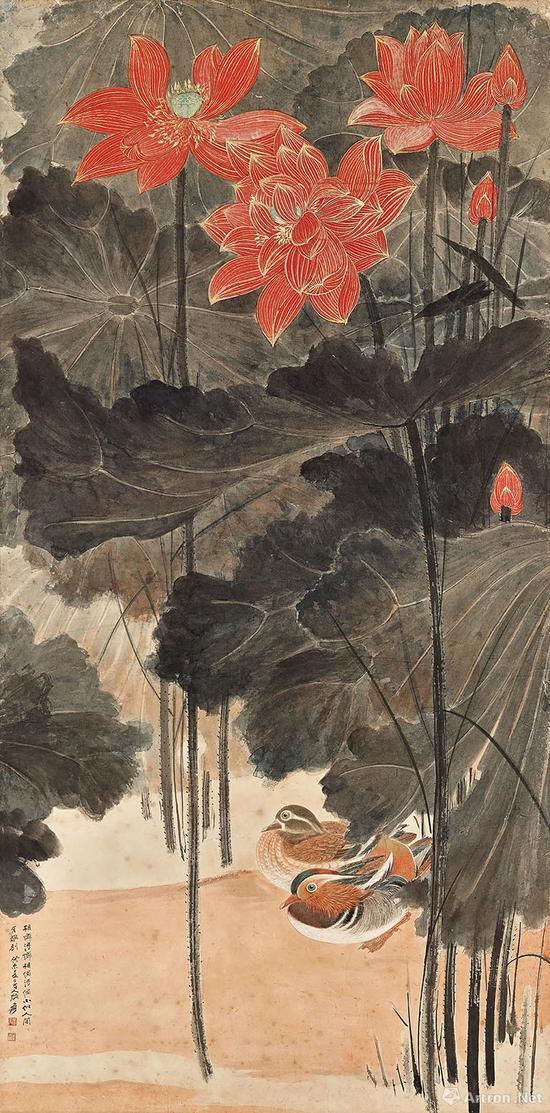 中国书画板块TOP1, 张大千《佳藕图》,成交价:5860万港元
