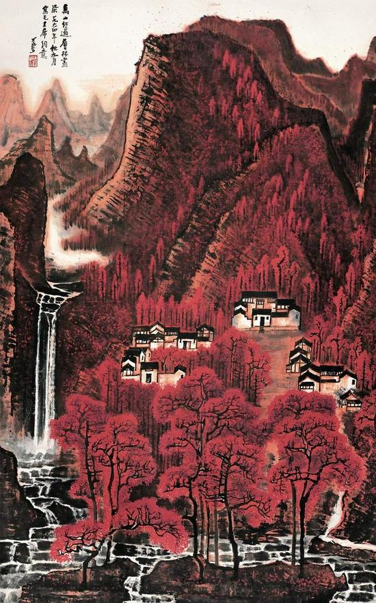 李可染 《万山红遍》135.5×85cm 纸本设色 1964年 北京画院藏