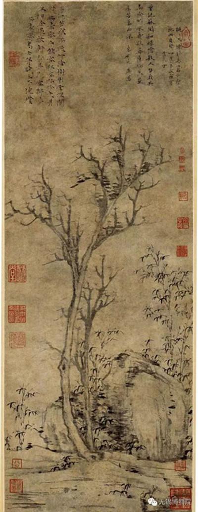 3、明-文徵明蕉石鸣琴图轴
