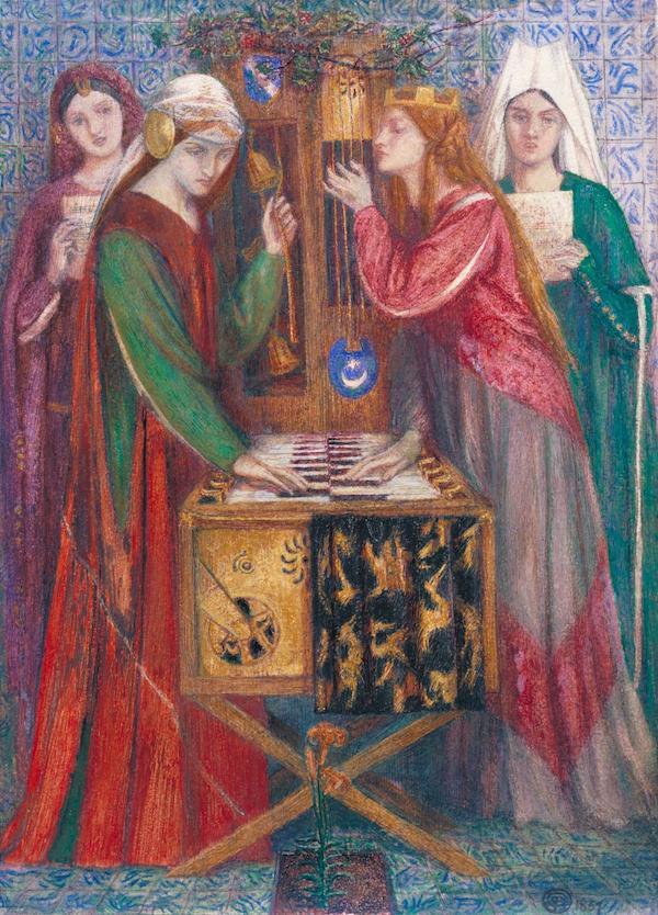 但丁·罗塞蒂《蓝色密室》(Blue Closet,1856-1857),英国伦敦泰特美术馆