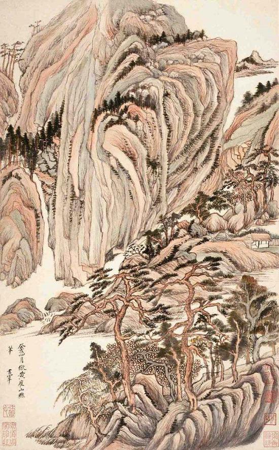 明 董其昌《仿古山水图册》之一 纳尔逊·阿特金斯艺术博物馆藏