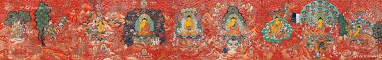 佛教艺术专场TOP1,《释迦牟尼佛传故事红卡》,成交价:790.6万港元