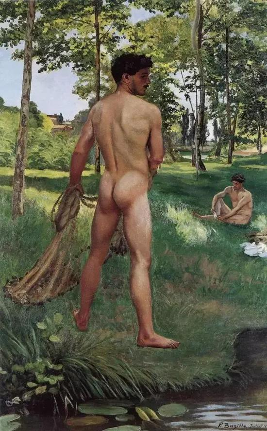 巴齐耶《拿渔网的渔夫》,布面油画,1868年