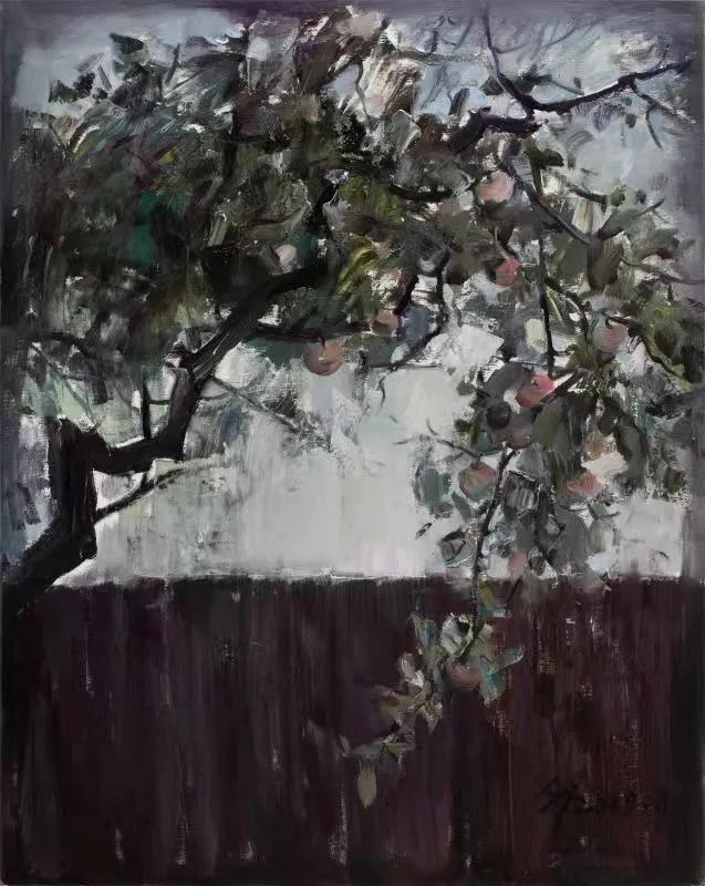 文祯非《苹果红了》100cm×80cm布面油画2019.8