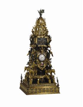 图2 铜镀金象驮转花水法钟