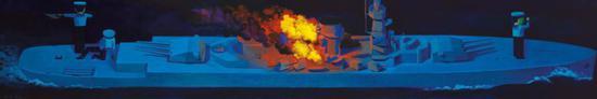 刘野《战舰的肖像》压克力、画布 60×360cm 1998~2009年作