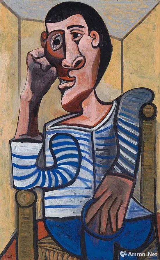 佳士得纽约毕加索1943年绘制的自画像《水手》因损坏而撤拍