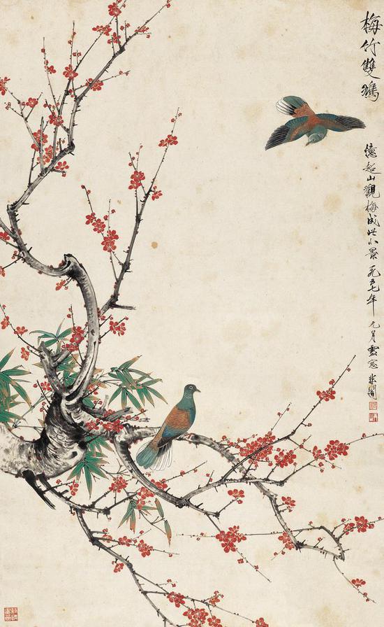 于非闇 《梅竹双鸩》155×95.5cm 纸本设色 1957年 北京画院藏