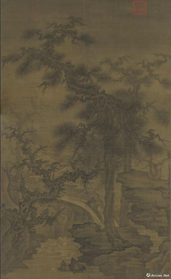 宋人松泉磐石轴 李成 160.3x96.8公分,现藏于台北故宫博物院
