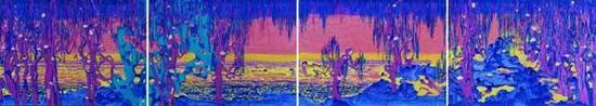 《中国花园》 布面油画 50cm x 80cm x4 2016年