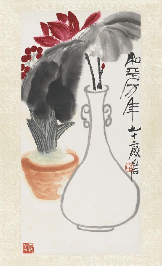 齐白石《和平万年》, 纸本设色,1952年,中国美术馆藏