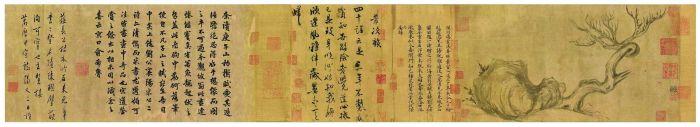 香港佳士得2018秋拍以4.636亿港元成交的北宋苏轼《木石图》手卷,水墨纸本,27.2×543厘米