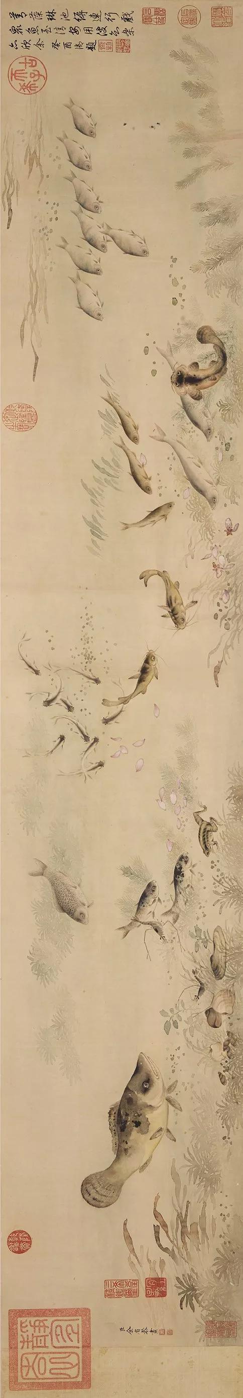 ▌余省《鱼藻图》 纸本设色 清宫旧藏