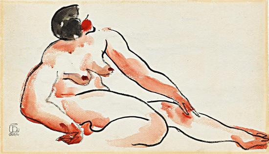常玉1920-1930年水彩作品《坐姿裸女》在香港蘇富比春拍以300万港元拍出