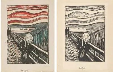 1895年的两幅石版画,左边为手工着色的版本。Photo© Munchmuseet