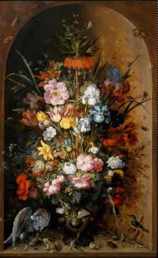 图九:洛兰特·萨弗里《静物》(1624)。画中共有63种花卉和44种动物。