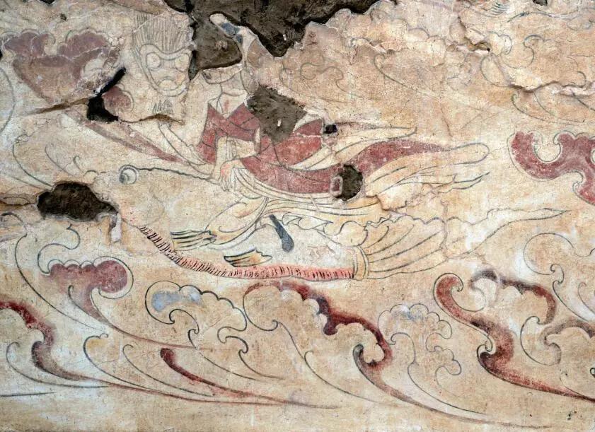 """▲墓道西壁第一层壁画""""仙人乘鱼图"""""""