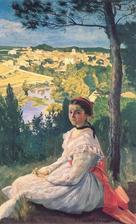 巴齐耶《卡斯泰尔诺莱的风景》,布面油画,130×89cm,1868年