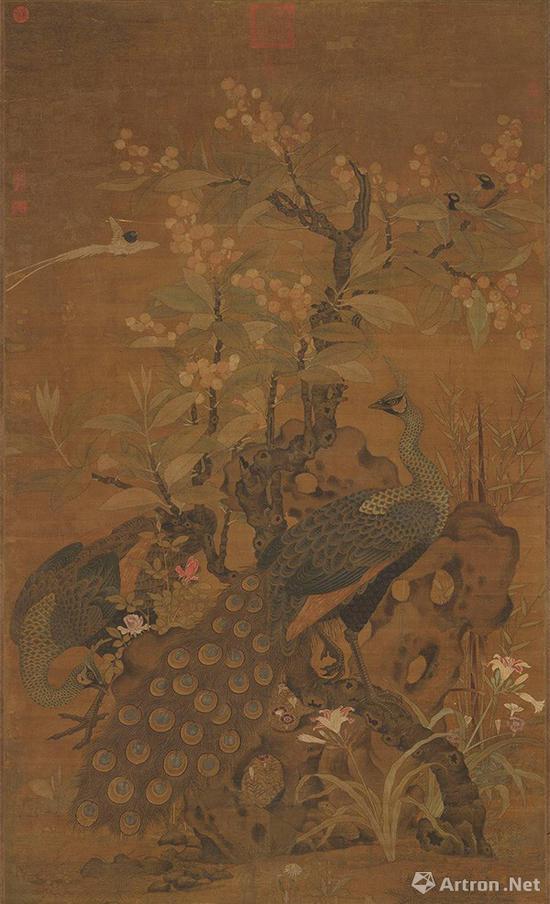 宋 崔白 枇杷孔雀 轴台北故宫博物院藏