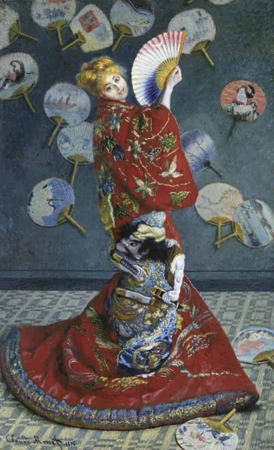 克劳德?莫奈,《莫奈夫人妆成日本女子》,1876年作,波士顿美术馆收藏。