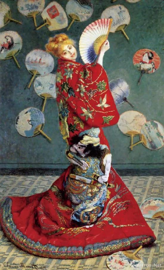 克劳德·莫奈《穿日本和服的女子·卡美伊(莫奈第一任妻子)》
