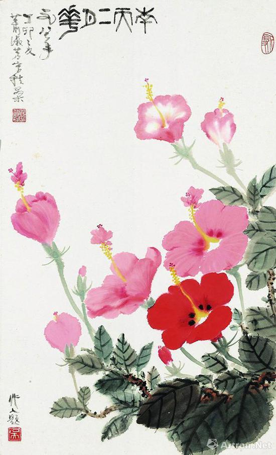 萧淑芳吴作人1987年合作《南天二月花》,成交价33.35万元,北京保利2018春拍