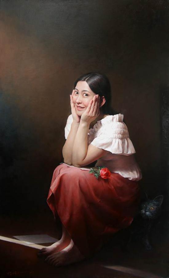 杨炀《远方来的情书》54×90cm油画