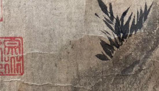 《木石图》画竹局部