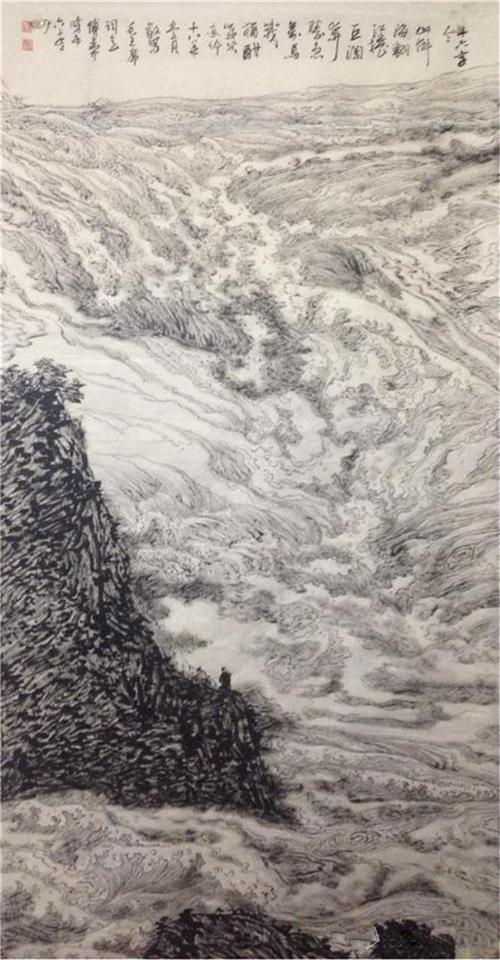 《山,倒海翻江卷巨澜》244×120cm 2018年