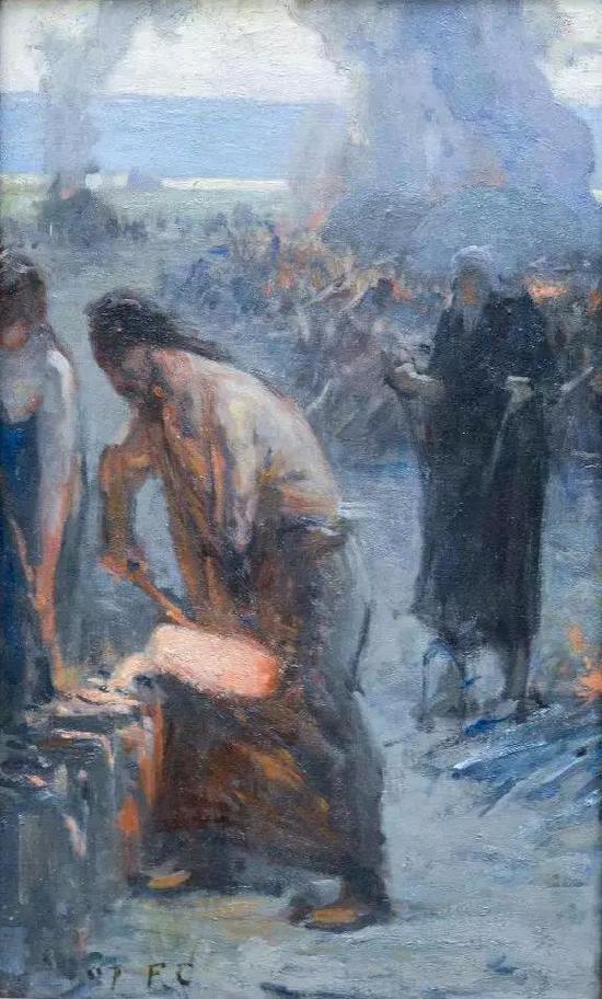 费尔南德。柯罗蒙 铜与铁 布面油彩 41.5x25.5cm 1897年