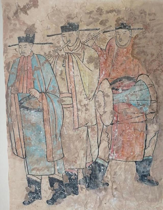 内蒙古新发现的辽墓壁画《散乐图》。敖汉旗文化旅游体育局供图
