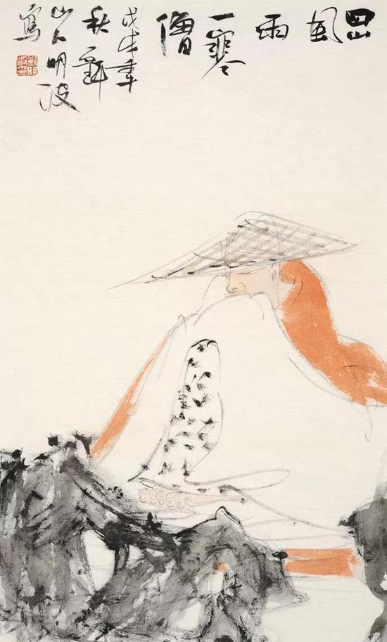 刘明波 人物 69cm×36cm 绢本设色 2018年