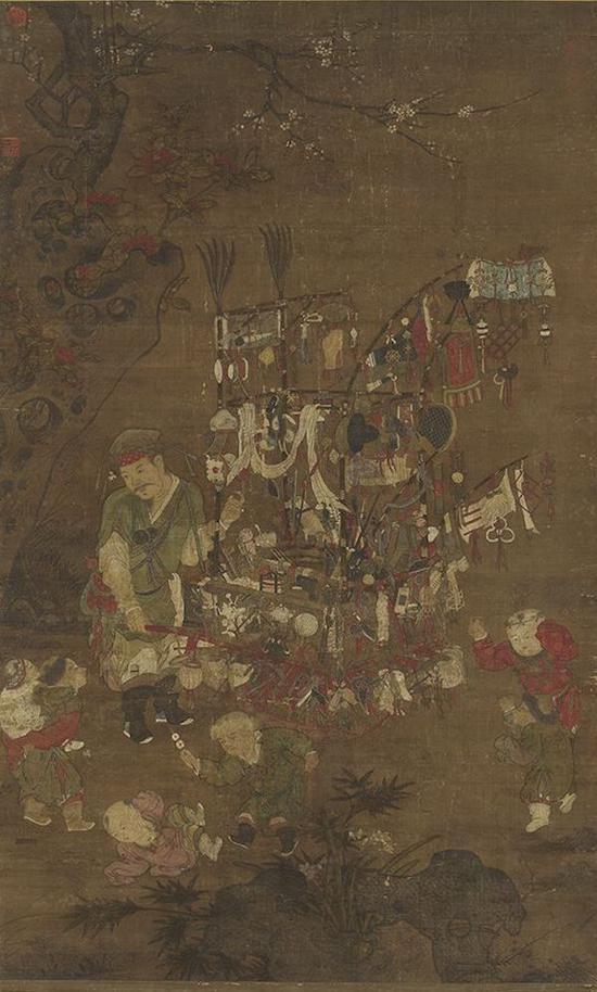 传 南宋 苏汉臣 《货郎图》轴 台北故宫博物院