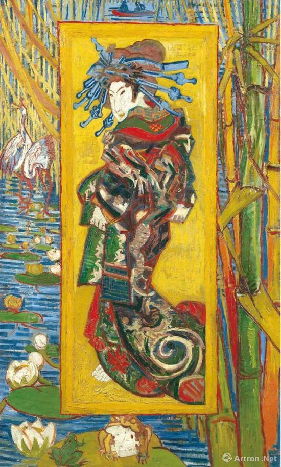 文森特·梵高,《名妓》,用油画手法画的浮世绘作品