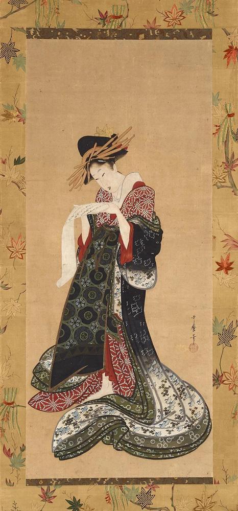 《艺妓读信》,喜多川歌麿(1753?1806),纸本设色,约1805?6年