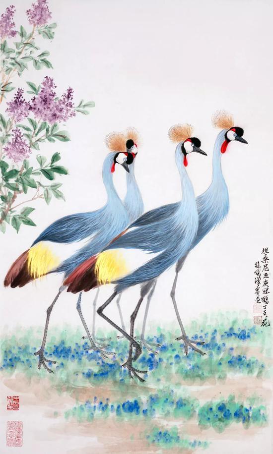 世界各国国鸟国花系列之《坦桑尼亚灰冠鹤丁香花》