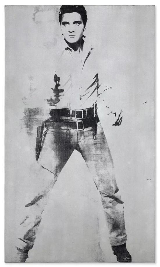 艺术品:? 2018 The Andy Warhol Foundation for the Visual Arts, Inc。 / Licensed by Artists Rights Society (ARS)安迪-沃霍尔(1928-1987),《双面猫王(费鲁斯画廊版)》,1963年。丝网墨、喷漆、麻布。207.6 x 121.9 cm。 ,估价待询。作品将于5月17日在佳士得纽约举行的战后及当代艺术晚间拍卖上登场
