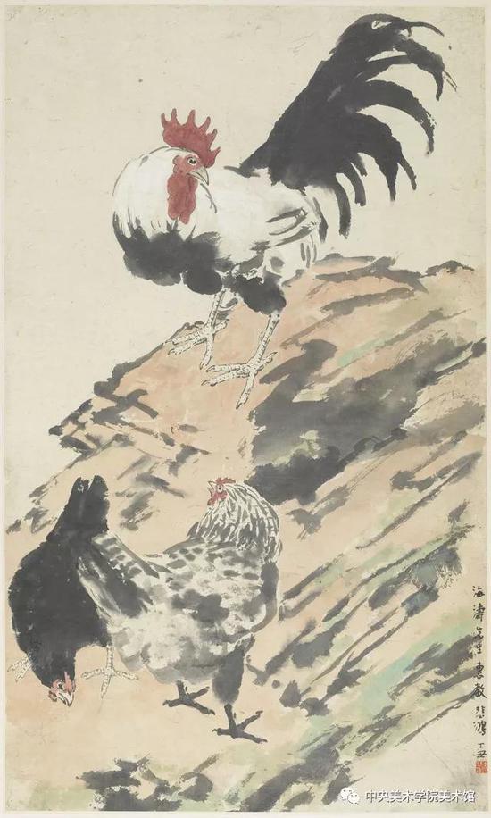 徐悲鸿   三鸡图  纸本设色  84×50
