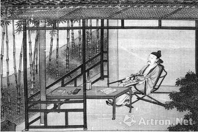 明代仇英的《桐阴图》(局部),描绘了文人在书斋中的场景