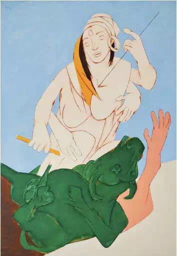 Tyeb Mehta,《Durga Mahisasura Mardini》(1983)。图片: Courtesy Sotheby's