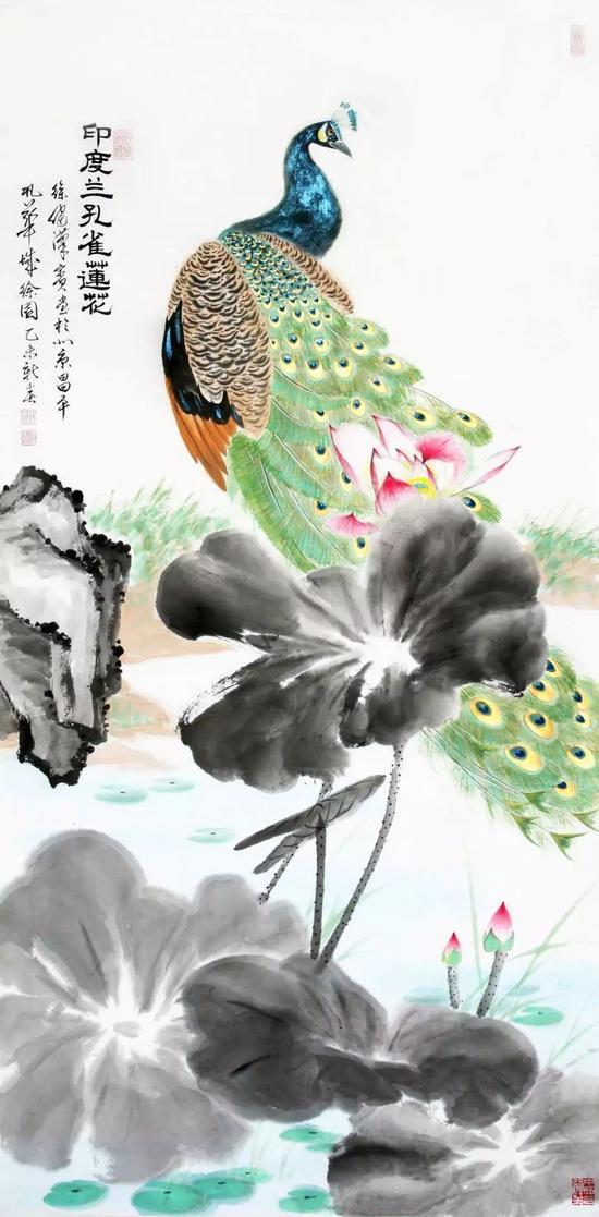 世界各国国鸟国花系列之《印度蓝孔雀莲花》