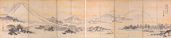 曾我萧白画 富士三保松原图屏风 江户时代(18世纪) 滋贺MIHO MUSEUM藏