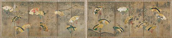 俵屋宗达画扇面散贴附屏风 江户时代(17世纪)东京出光美术馆藏